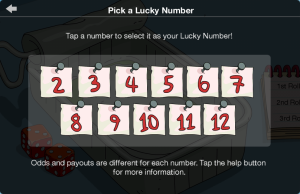 TSTO Casino Cletus' Dice Den Pick Lucky Number Screen